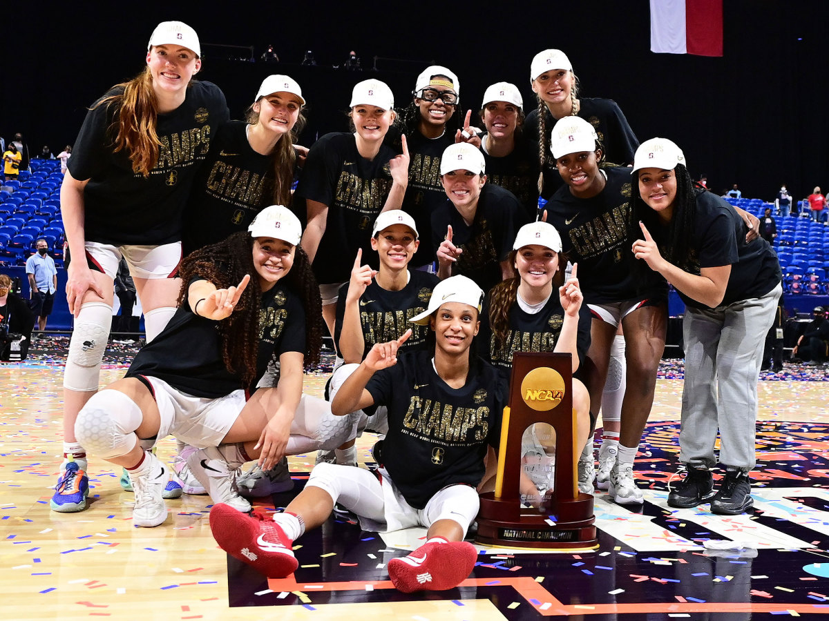 Stanford women's basketball players celebrate their NCAA championship