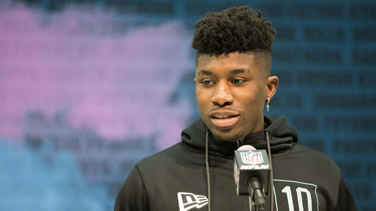 Jeff Gladney takes questions at the podium during the 2020 NFL Scouting Combine