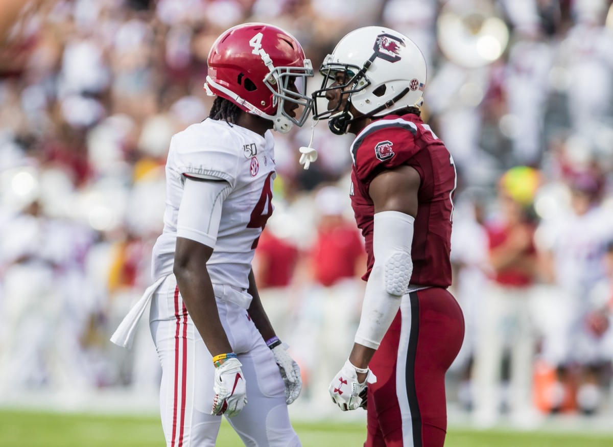 Sep 14, 2019; Columbia, SC, USA; Alabama receiver Jerry Jeudy (4) and South Carolina defensive back Jaycee Horn (1). Mandatory Credit: Jeff Blake-USA TODAY