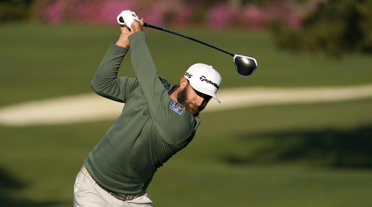 Dustin Johnson practicing ahead of the 2021 Masters