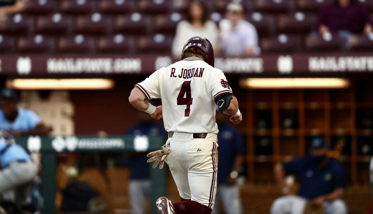 Centerfielder Rowdey Jordan had a big night for Mississippi State on Tuesday as the Bulldogs rolled to a lopsided midweek win over Southern. (Photo courtesy of Mississippi State athletics)