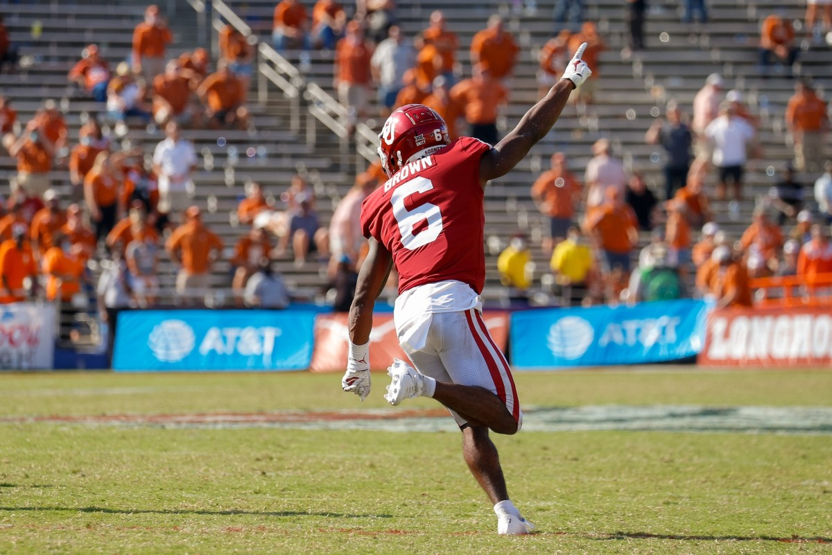 Oklahoma Sooners defensive back Tre Brown (6) celebrates after making the game winning interception against the Texas Longhorns in overtime of the Red River Showdown at Cotton Bowl.