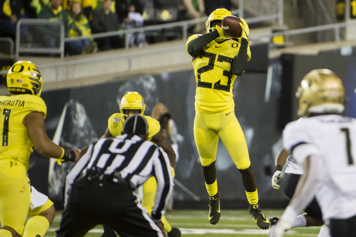 Verone McKinley III (23) intercepts a pass against during the second half against the Colorado Buffaloes at Autzen Stadium on October 11, 2019. The Ducks would win 45-3.