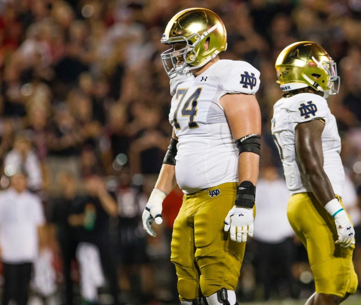 Left tackle Liam Eichenberg could be Notre Dame's highest selection in the 2021 NFL draft. 5eae56e0b3a90 Image