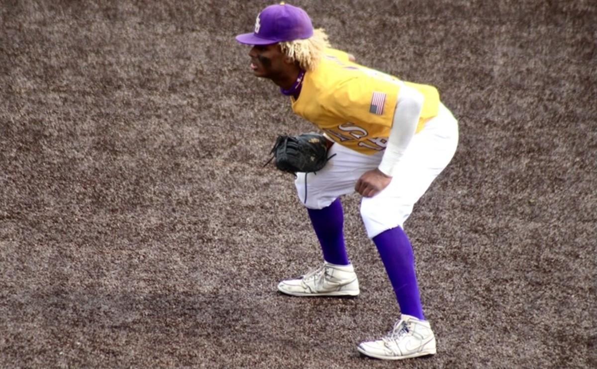 LSU freshman first baseman Tre' Morgan (Jake Nichols/VR2 on SI)