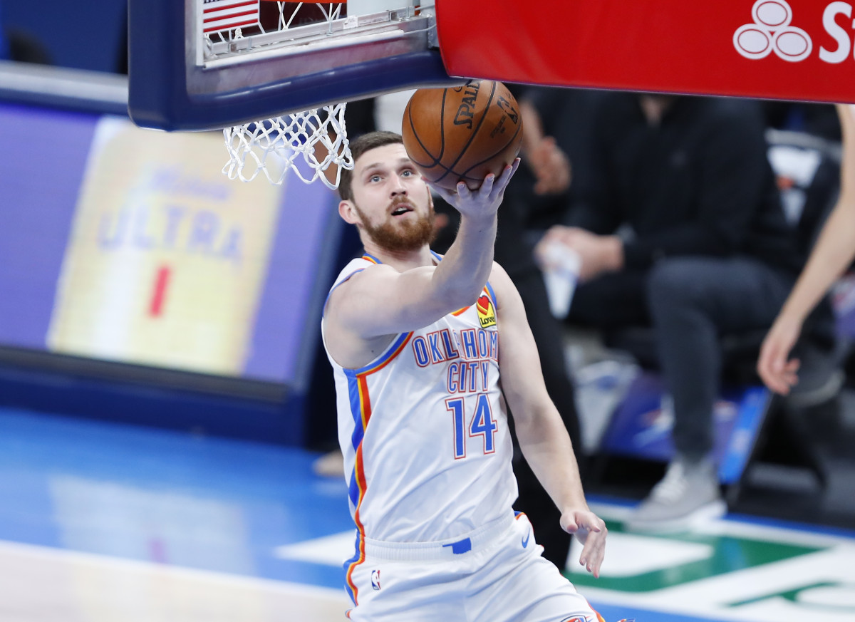 Thunder forward Svi Mykhailiuk goes up for the layup. Mykahiliuk was acquired from the Pistons in the Hamidou Diallo trade