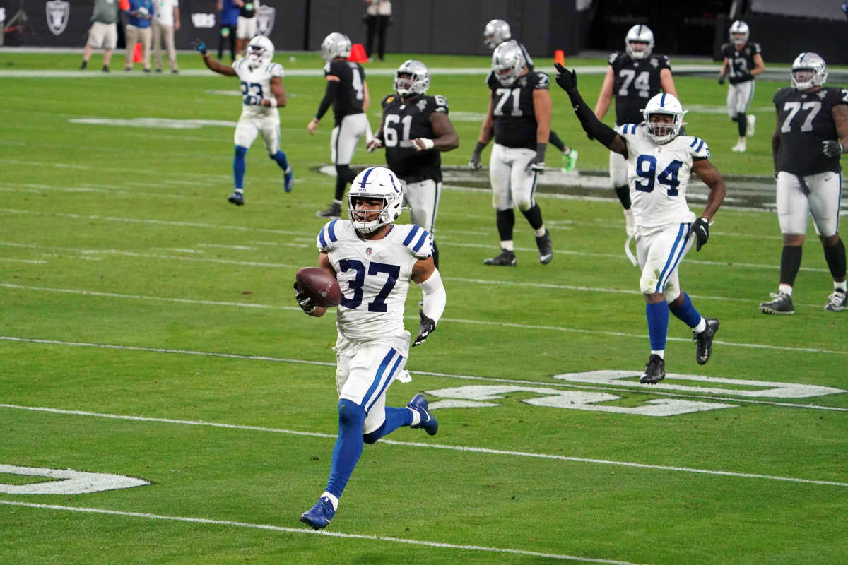 Dec 13, 2020; Paradise, Nevada, USA; Indianapolis Colts strong safety Khari Willis (37) returns an interception for a touchdown in the fourth quarter against the Las Vegas Raiders at Allegiant Stadium. Mandatory Credit: Kirby Lee-USA TODAY Sports