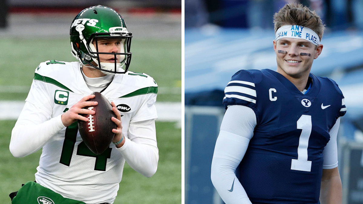 Sam Darnold prepares to throw a pass for the Jets, and BYU draft prospect Zach Wilson
