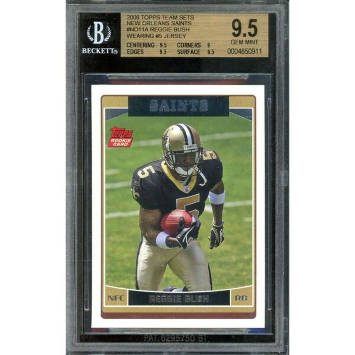 Reggie Bush sports the #5 in his 2006 Topps Rookie Card.