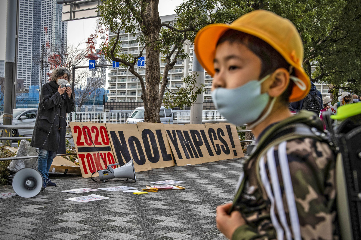 Protests in Tokyo against the Games, like this one in February, have been lonely affairs.