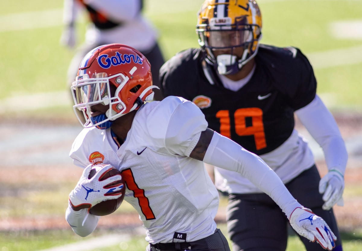 Wide receiver Kadarius Toney of Florida (1) runs after a catch during practice at in Mobile, Alabama Mandatory Credit: Vasha Hunt-USA TODAY