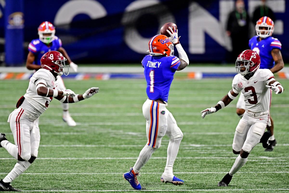 Florida Gators wide receiver Kadarius Toney (1) makes a catch against Alabama in the SEC Championship. Mandatory Credit: Adam Hagy-USA TODAY Sports