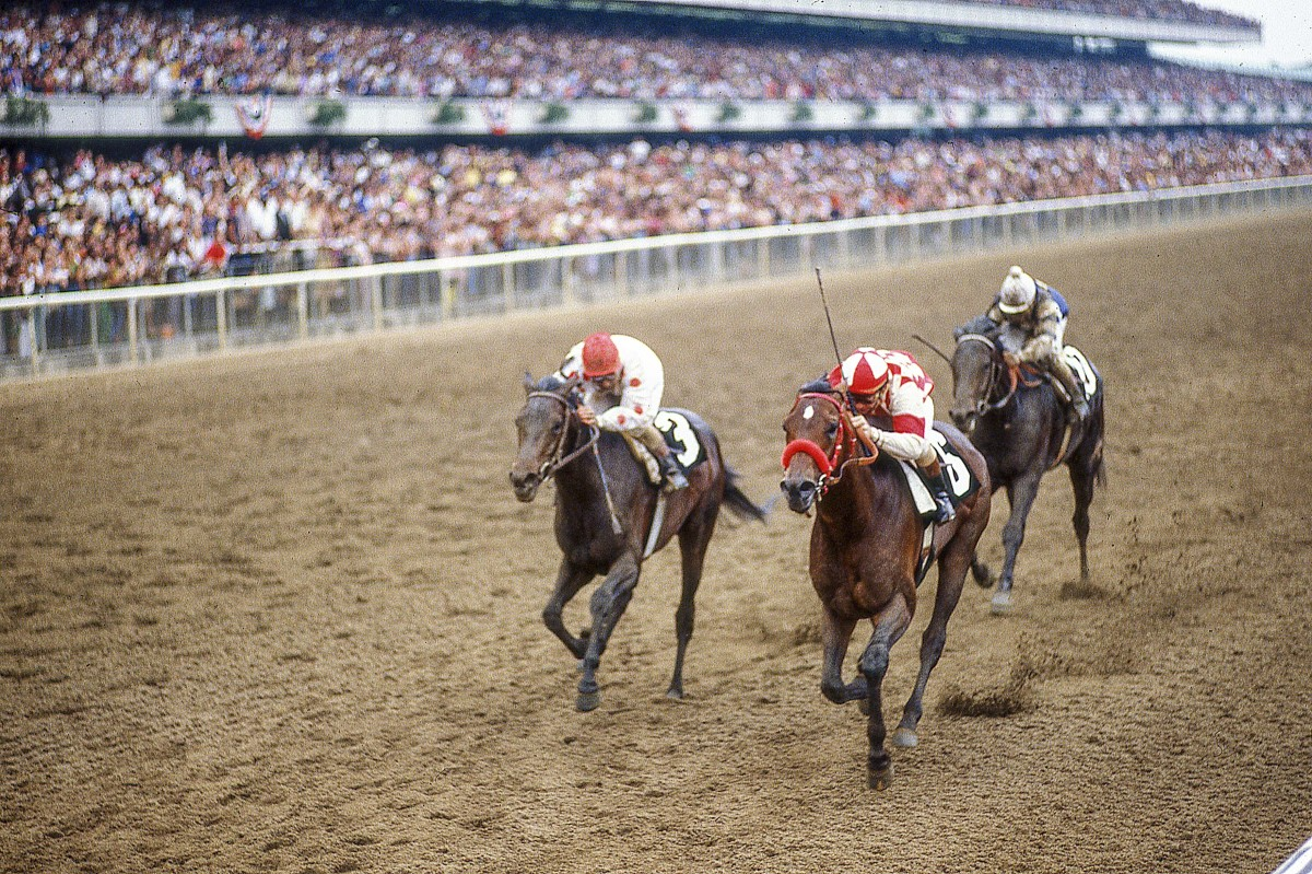 Pleasant Colony's Derby and Preakness wins are overshadowed by defeat at Belmont (far right, behind Summing, middle).