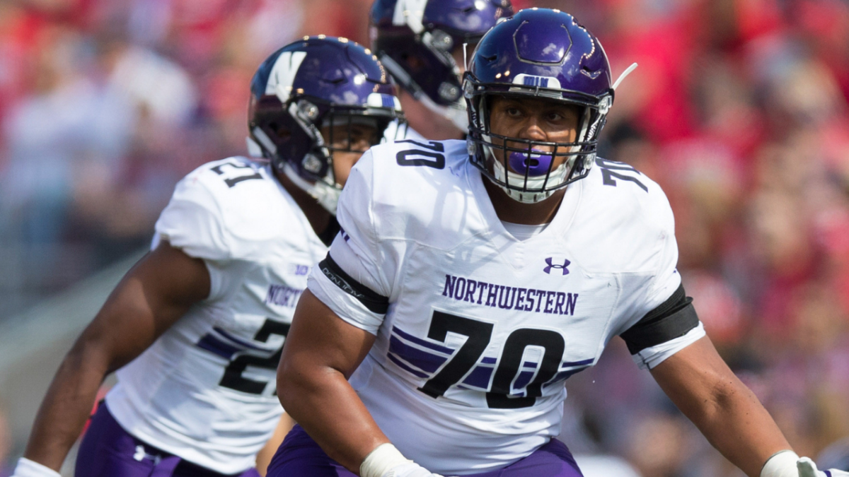 Northwestern Wildcats offensive lineman Rashawn Slater (70) during the game against the Wisconsin Badgers at Camp Randall Stadium.