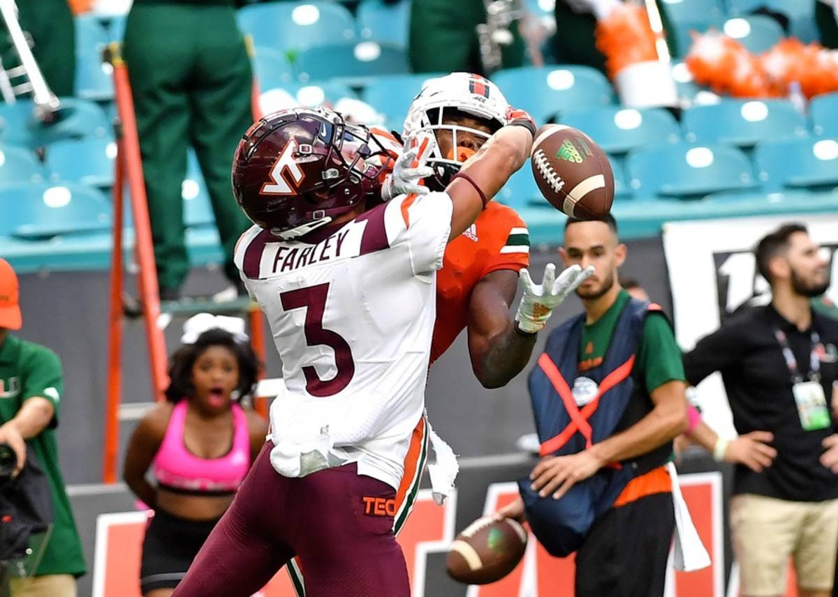Oct 5, 2019; Miami Gardens, FL, USA; Miami Hurricanes wide receiver K.J. Osborn (2) is unable to make a catch as Virginia Tech Hokies defensive back Caleb Farley (3) defends the play during the second half at Hard Rock Stadium. Mandatory Credit: Steve Mitchell-USA TODAY Sports