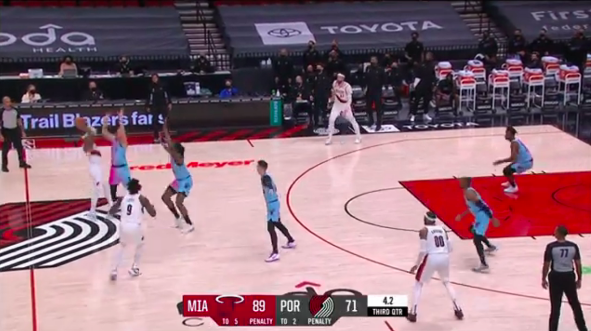 No one moved when the Miami Heat ran multiple defenders at Lillard with the clock winding down.