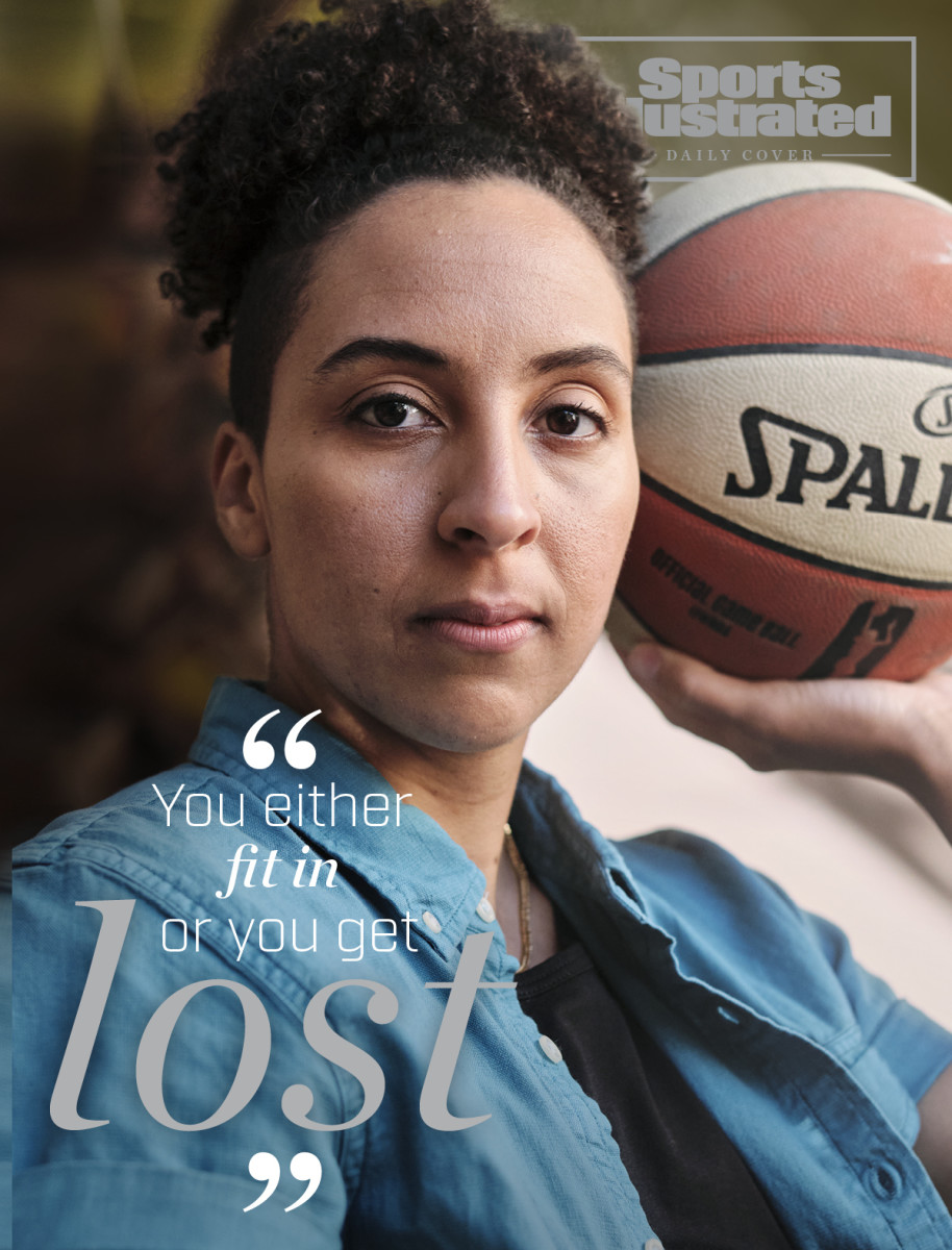 Layshia Clarendon holding a basketball