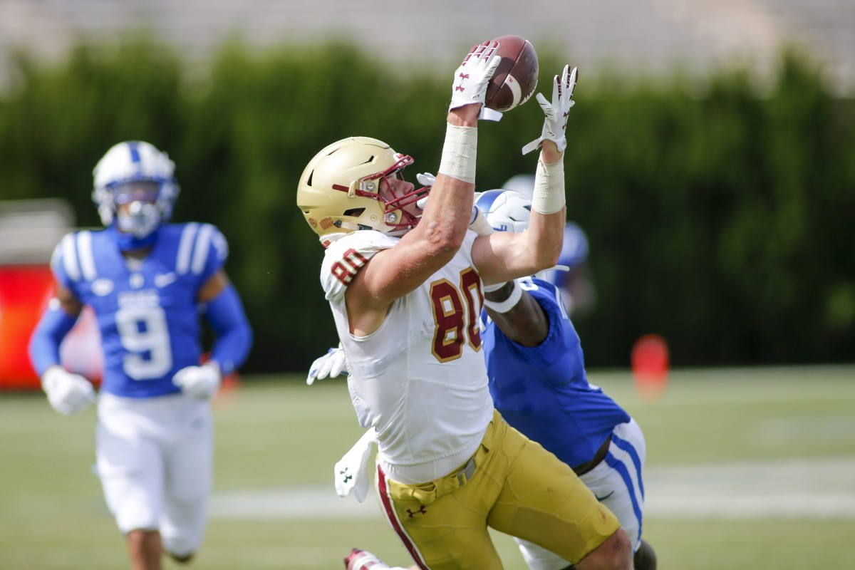 Boston College tight end Hunter Long (80) catches a pass against Duke safety Marquis Waters. Mandatory Credit: Nell Redmond-USA TODAY