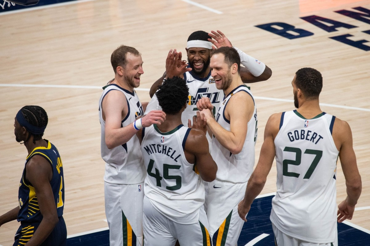 The Utah Jazz celebrate a win over the Indiana Pacers