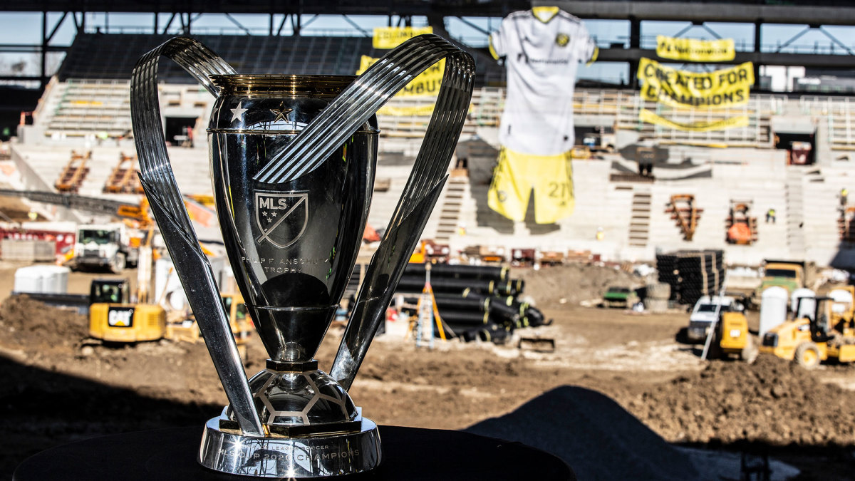 The Columbus Crew's MLS Cup trophy and new stadium