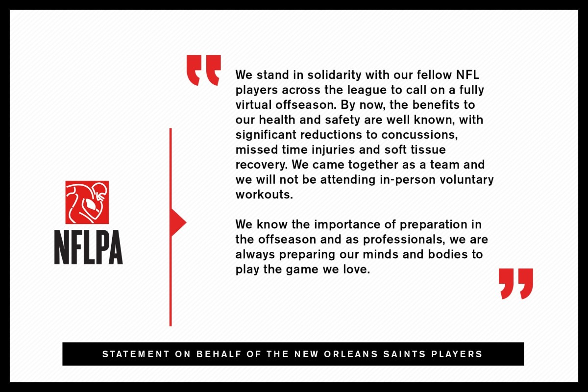 New Orleans Saints Players Announcement to skip OTA's