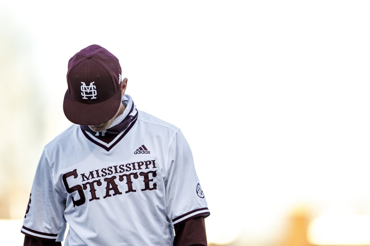 Mississippi State third baseman Kamren James looks down during Saturday's loss to Ole Miss. (Photo courtesy of Mississippi State athletics)