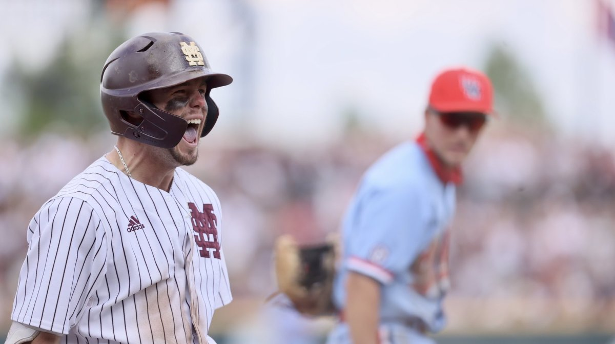 Mississippi State's Tanner Allen celebrates after hitting a go-ahead three-run triple in the sixth inning on Sunday. MSU went on to defeat Ole Miss 7-5. (Photo courtesy of Mississippi State athletics)