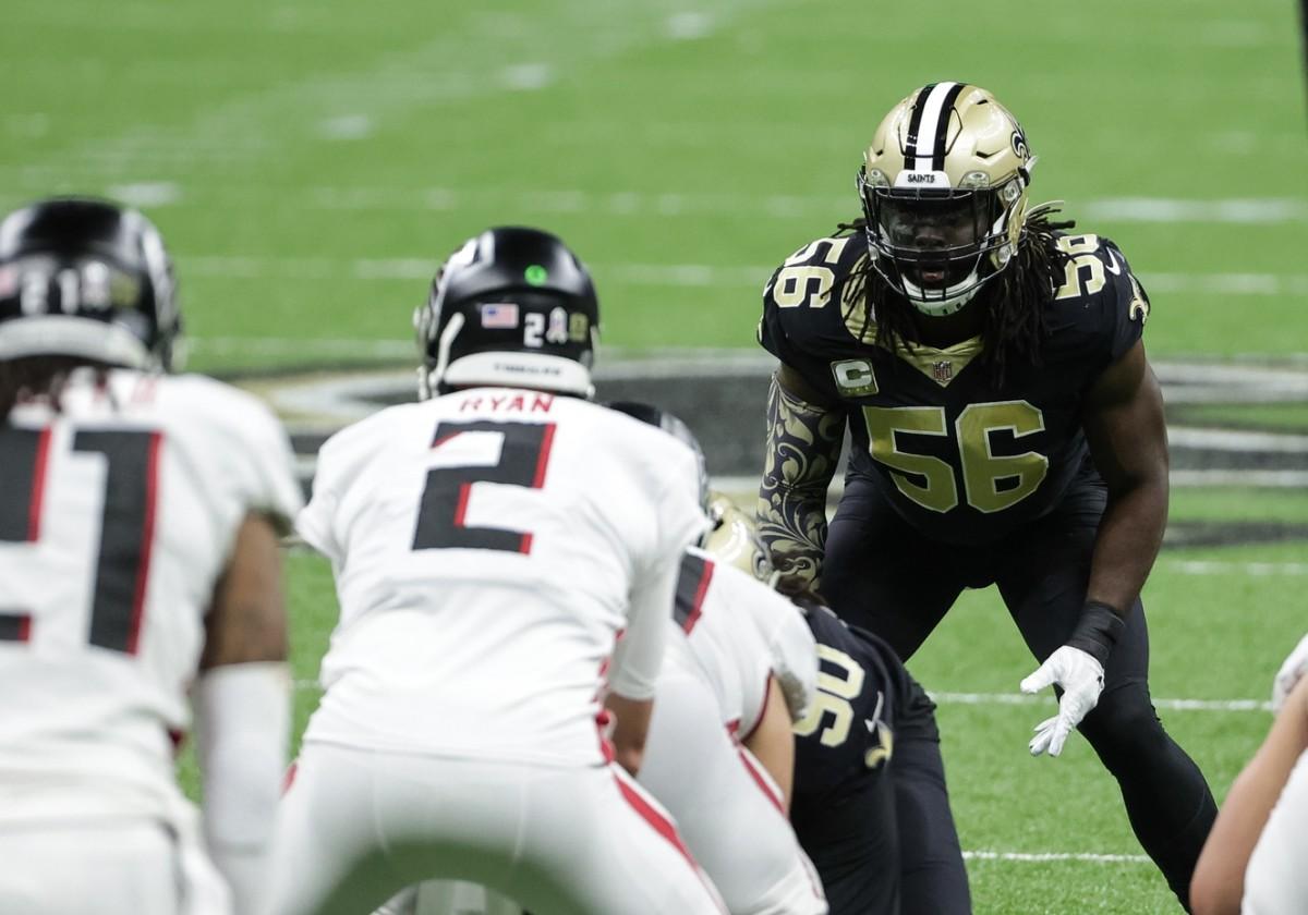 New Orleans Saints outside linebacker Demario Davis (56) against the Atlanta Falcons. Mandatory Credit: Derick E. Hingle-USA TODAY