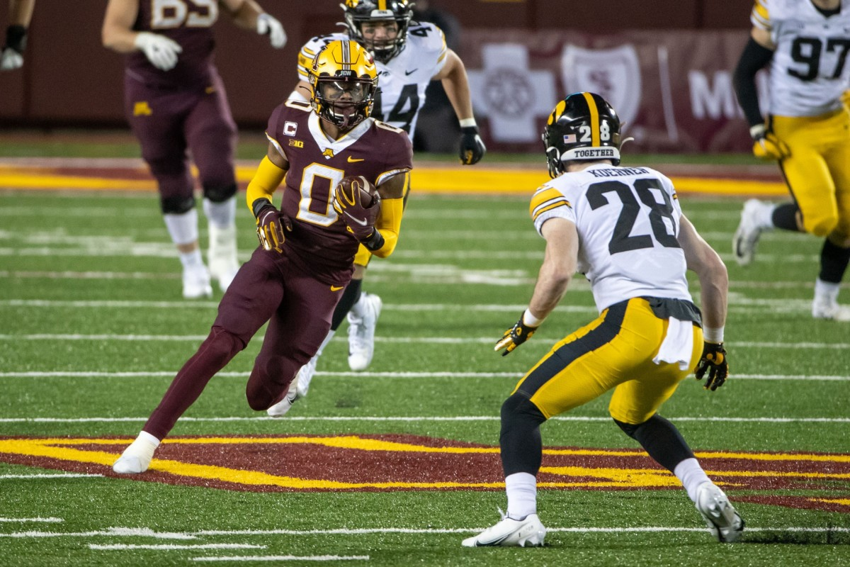 Minnesota Golden Gophers wide receiver Rashod Bateman (0) after making a catch in the second half against the Iowa Hawkeyes. Mandatory Credit: Jesse Johnson-USA TODAY Sports