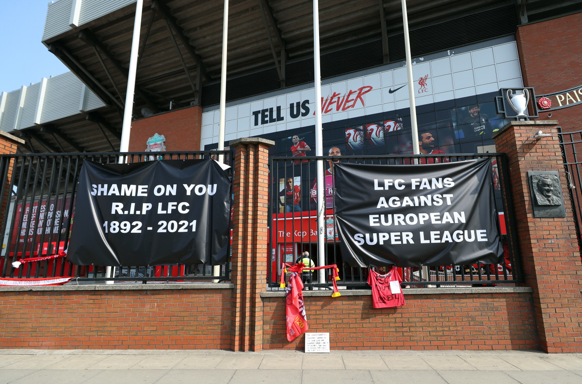 Liverpool fans display their anger at the clubs involvement of the European Super League, they displayed banners outside the world famous Anfield Stadium.