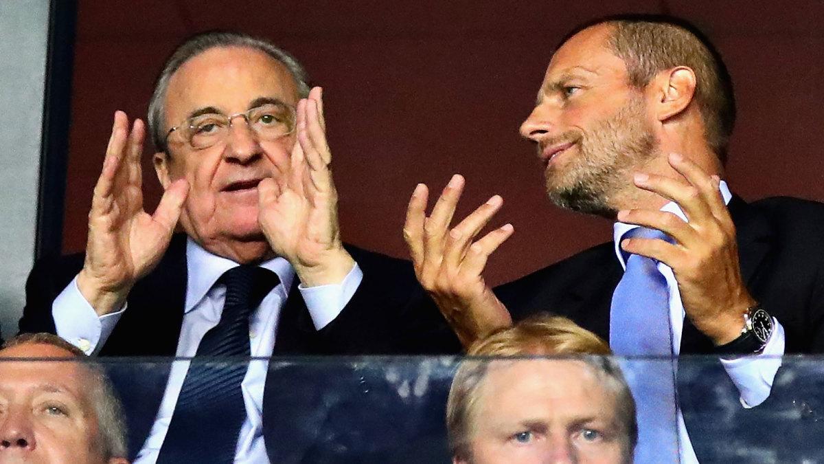 Real Madrid president Florentino Perez and UEFA president Aleksander Ceferin