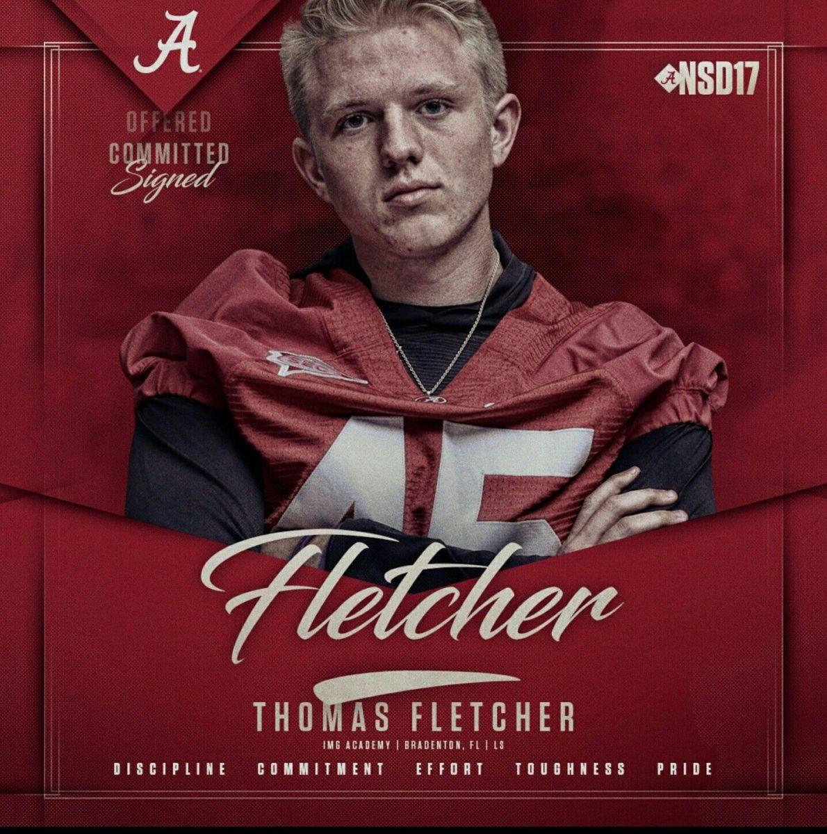 Alabama long-snapper Thomas Fletcher as a recruit