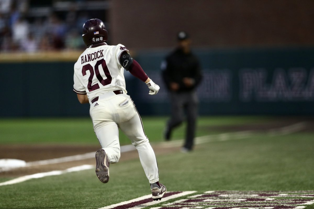 Mississippi State's Luke Hancock runs the bases on Tuesday night against UAB. The Bulldogs topped the Blazers 19-7. (Photo courtesy of Mississippi State athletics)
