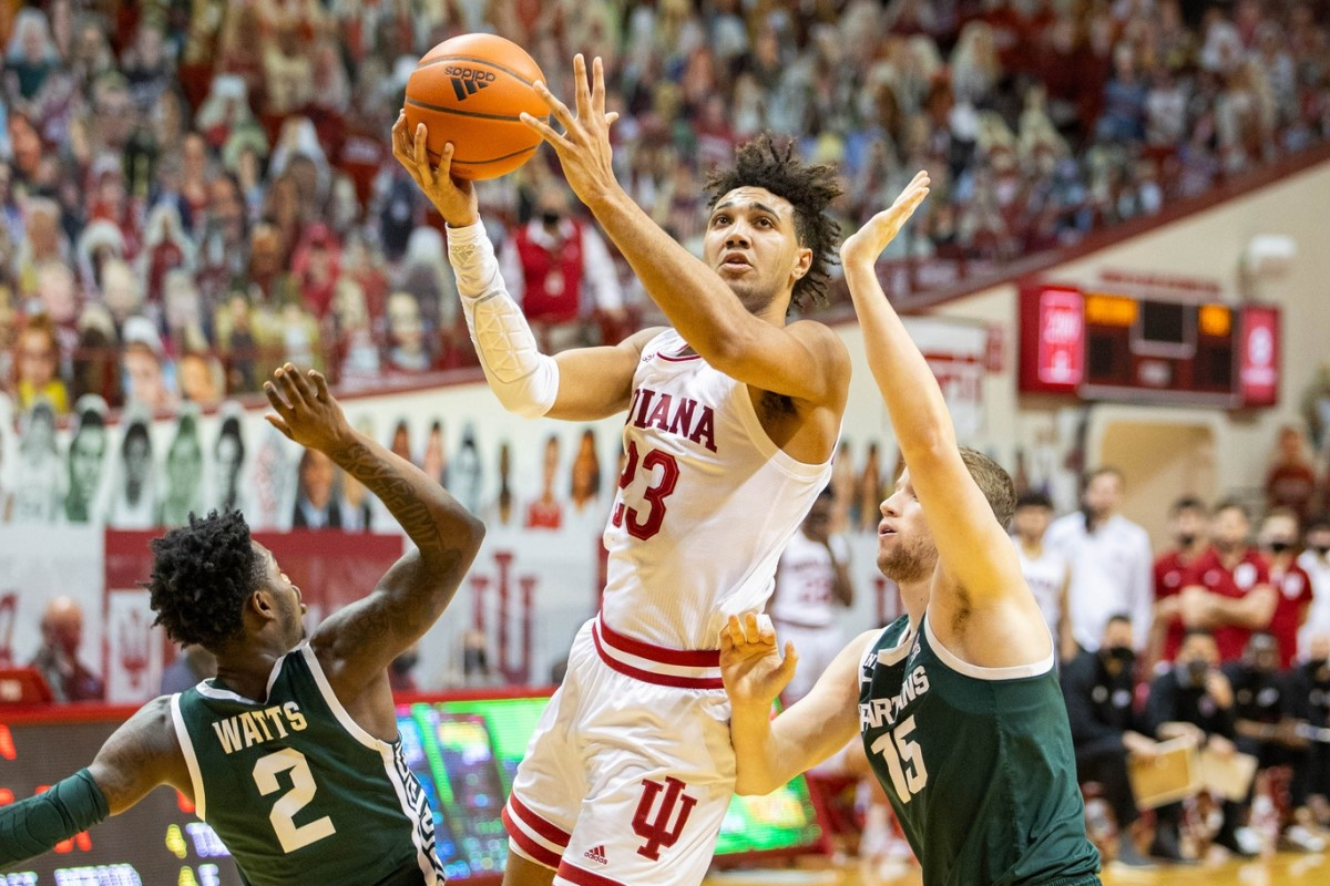 Indiana forward Trayce Jackson-Davis (23) scores two of his 34 points against Michigan State on Feb. 20 at Assembly Hall.  (Trevor Ruszkowski-USA TODAY Sports)