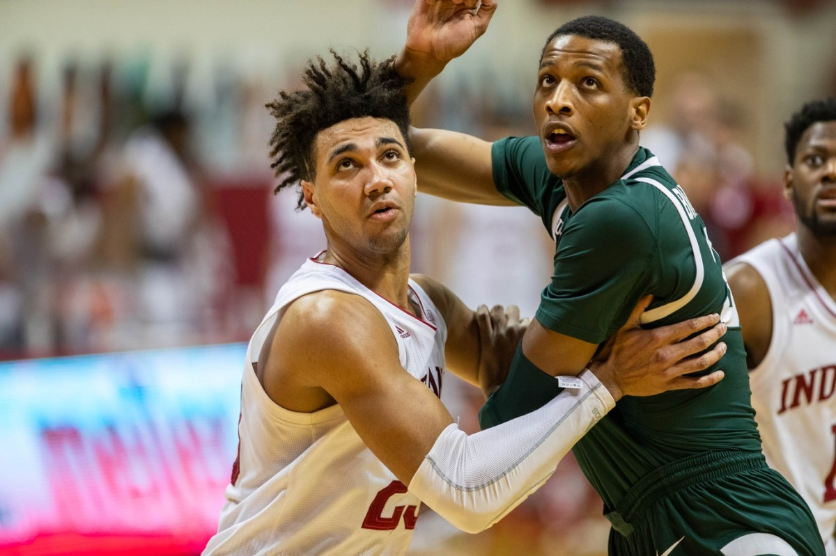Indiana forward Trayce Jackson-Davis (left) and Michigan State's Marcus Bingham Jr. (right) fight for position on Feb. 20 at Simon Skjodt Assembly Hall. (Trevor Ruszkowski-USA TODAY Sports)