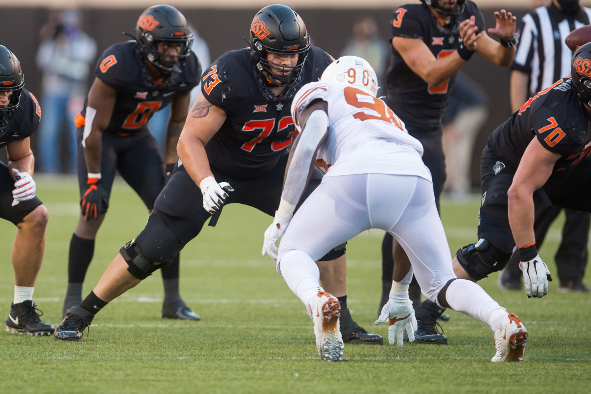 Oklahoma State offensive lineman, Teven Jenkins, is one of the more underrated linemen in the 2021 NFL Draft class.