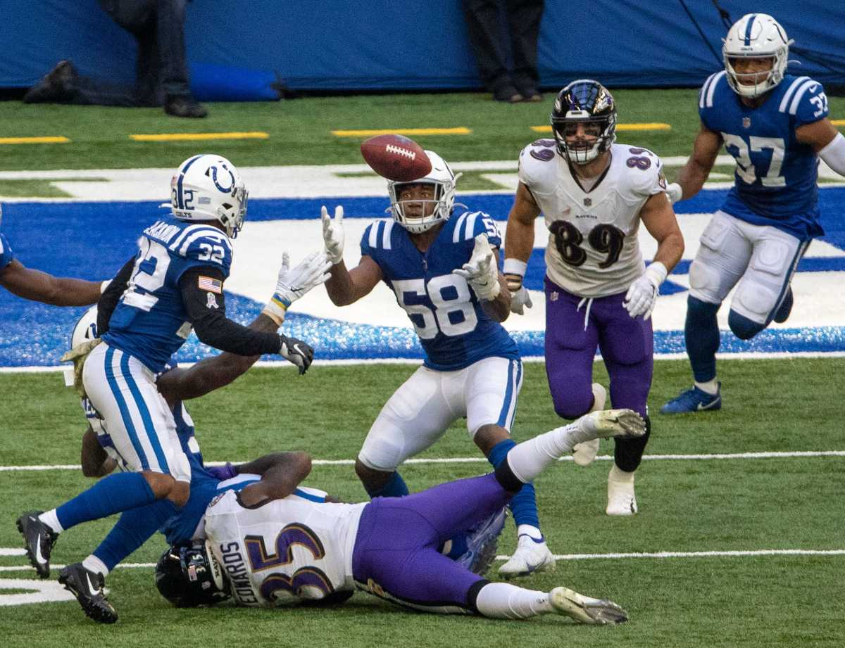 Bobby Okereke (58) of the Indianapolis Colts grabs a turnover as Baltimore Ravens take on Indianapolis Colts, at Lucas Oil Stadium, Indianapolis, Sunday, Nov. 8, 2020. The defensive play was nullified a play later when Indianapolis turned it right back over to the Ravens. Colts lost the contest 10-24. 22 Coltsravens Rs