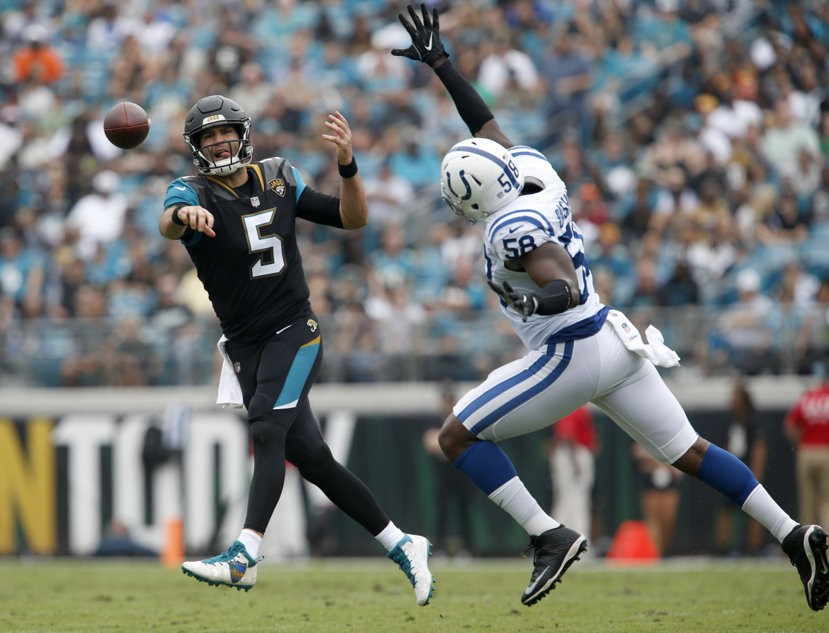 Dec 3, 2017; Jacksonville, FL, USA; Indianapolis Colts linebacker Tarell Basham (58) tries to block a pass from Jacksonville Jaguars quarterback Blake Bortles (5) during the second quarter at EverBank Field. Mandatory Credit: Reinhold Matay-USA TODAY Sports