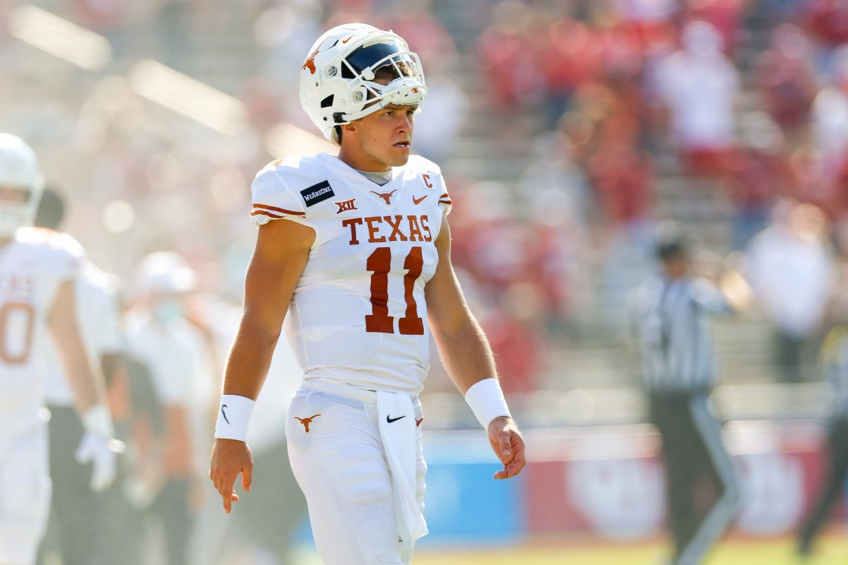 Oct 10, 2020; Dallas, Texas, USA; Texas Longhorns quarterback Sam Ehlinger (11) paces the sideline during the first quarter of the Red River Showdown against the Oklahoma Sooners at Cotton Bowl.