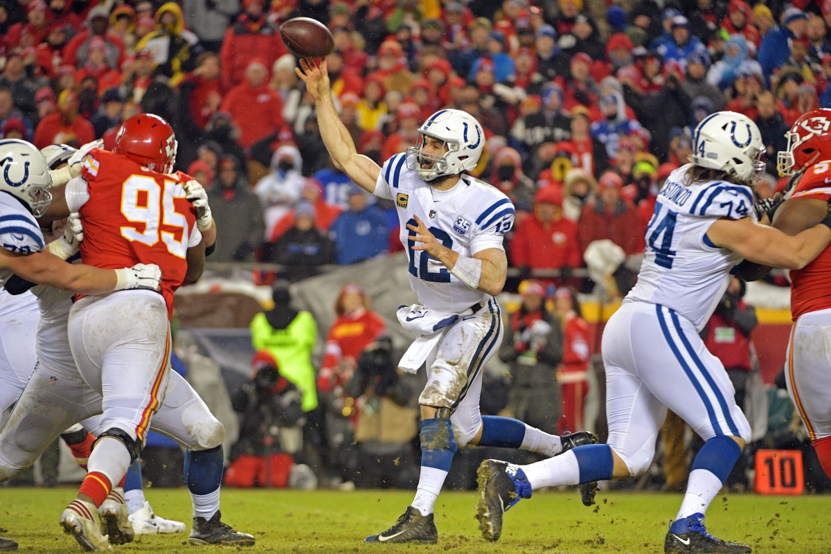 Jan 12, 2019; Kansas City, MO, USA; Indianapolis Colts quarterback Andrew Luck (12) throws a pass during the fourth quarter against the Kansas City Chiefs in an AFC Divisional playoff football game at Arrowhead Stadium. Mandatory Credit: Denny Medley-USA TODAY Sports