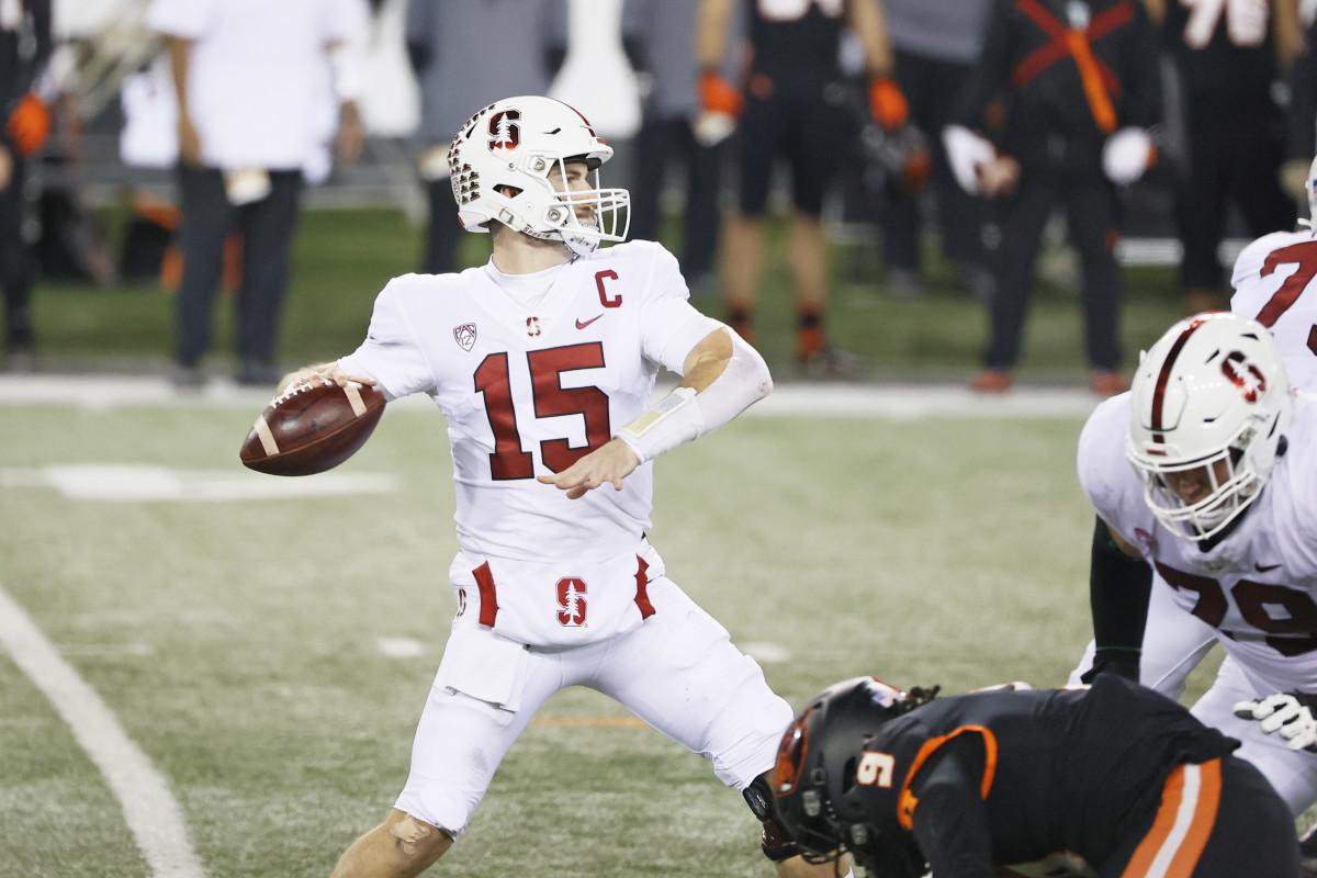 Dec 12, 2020; Corvallis, Oregon, USA; Stanford Cardinal quarterback Davis Mills (15) looks to throw against the Oregon State Beavers during the first half at Reser Stadium. Mandatory Credit: Soobum Im-USA TODAY Sports