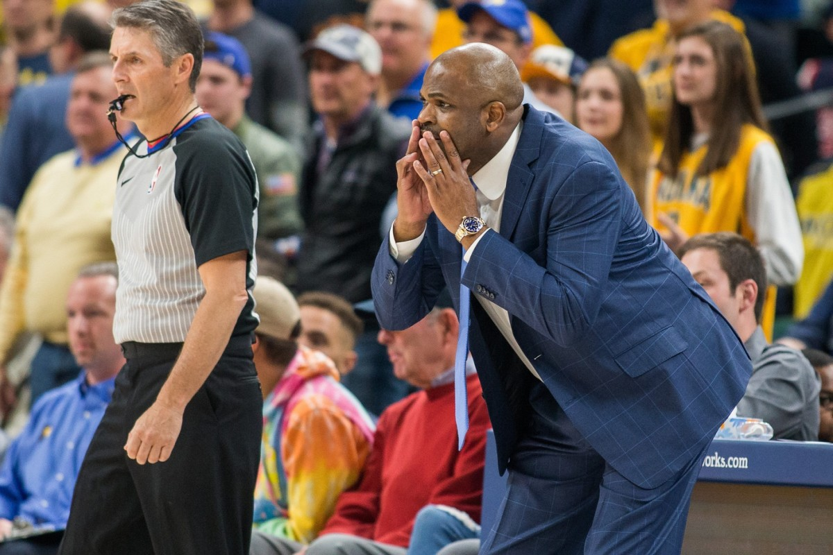 Former Pacers coach Nate McMillan barks out instructions during a game at Bankers Life Fieldhouse. (USA TODAY Sports)