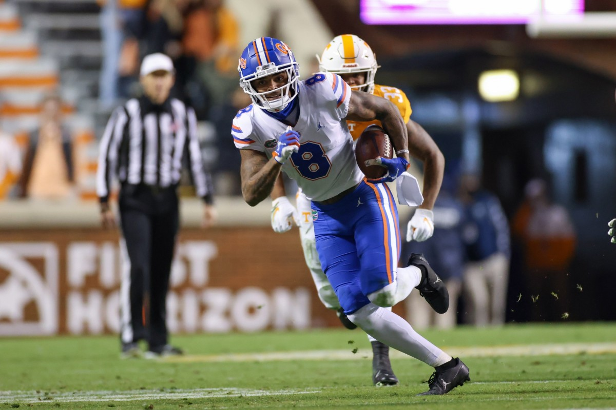 Florida Gators wide receiver Trevon Grimes (8) runs with the ball against the Tennessee Volunteers. Mandatory Credit: Randy Sartin-USA TODAY