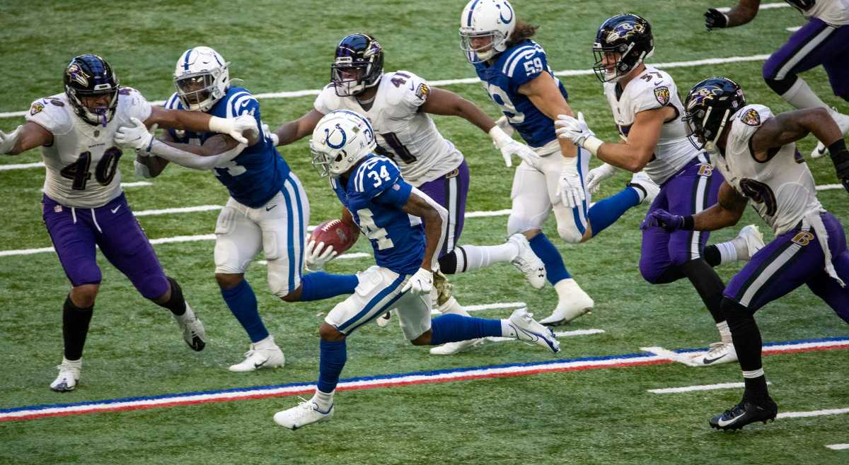 Isaiah Rodgers (34) of the Indianapolis Colts rushes as Baltimore Ravens take on Indianapolis Colts, at Lucas Oil Stadium, Indianapolis, Sunday, Nov. 8, 2020. Colts lost the contest 10-24. 36