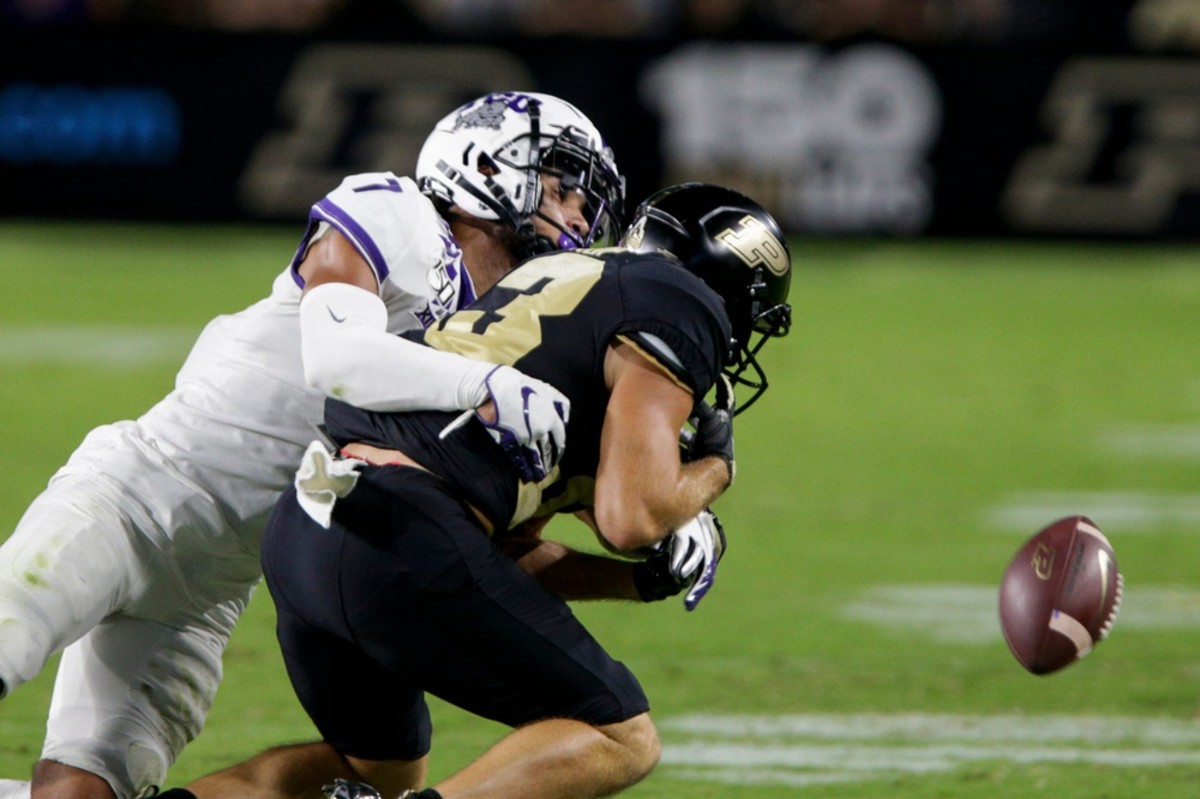 Texas Christian safety Trevon Moehrig (7) breaks up a pass for Purdue receiver Jackson Anthrop (33)© Nikos Frazier | Journal & Courier, Lafayette Journal & Courier via Imagn Content Services, LLC