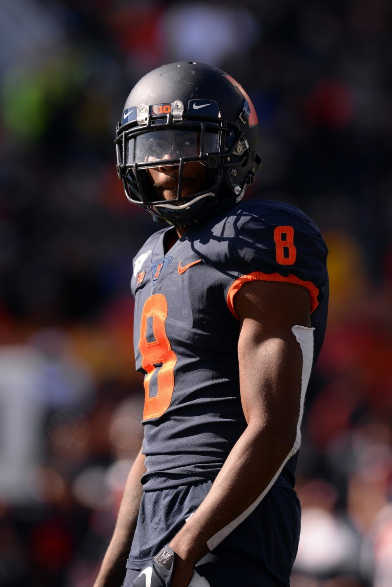 Oct 12, 2019; Champaign, IL, USA; Illinois Fighting Illini defensive back Nate Hobbs (8) looks on during the second half of the game against the Michigan Wolverines at Memorial Stadium. Mandatory Credit: Michael Allio-USA TODAY Sports