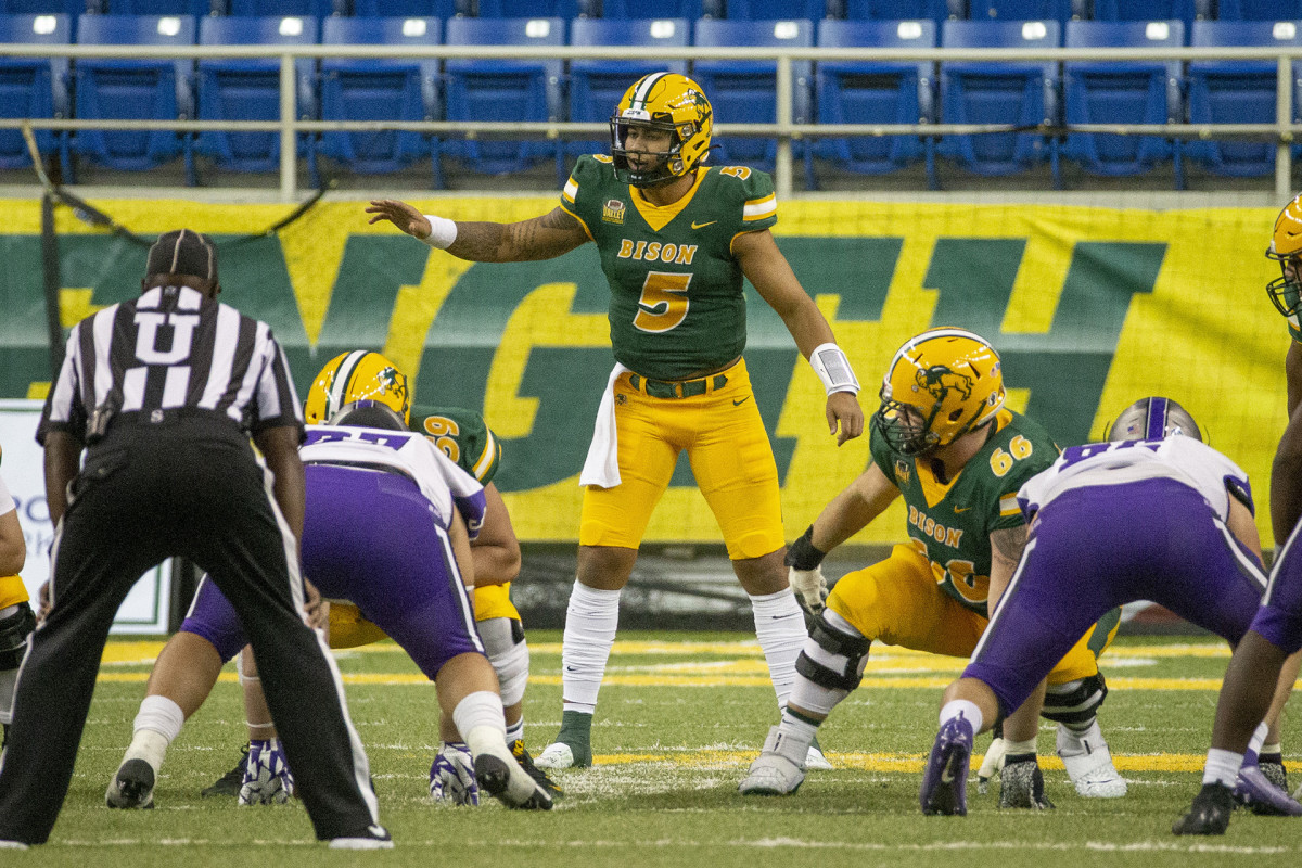 Trey Lance sets up the offense at the line of scrimmage in a 2020 game against Central Arkansas