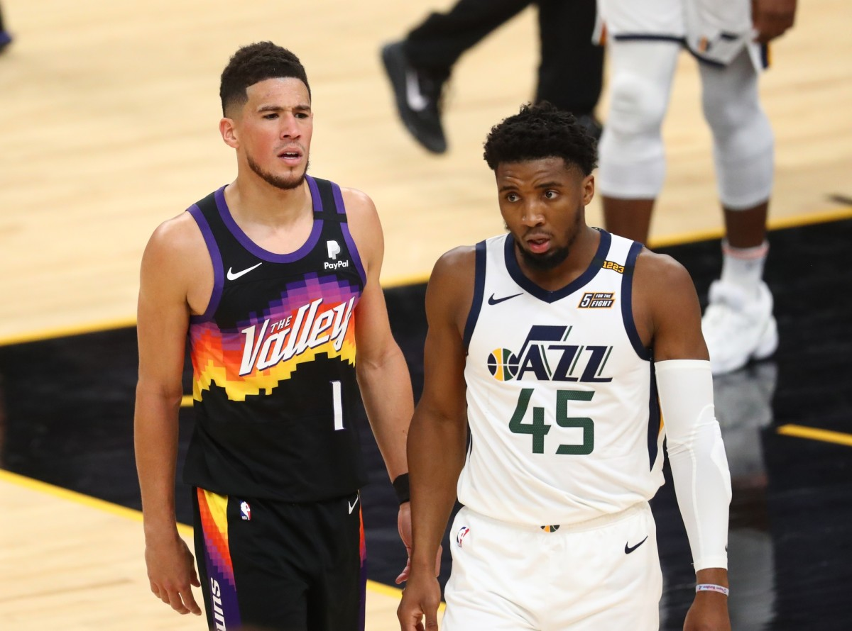 Donovan Mitchell (45) and Devin Booker (1)