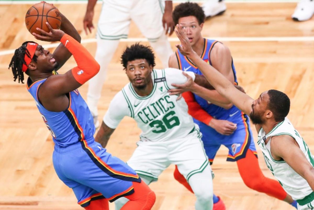 Lu Dort, Marcus Smart, Jaylen Brown, Boston Celtics