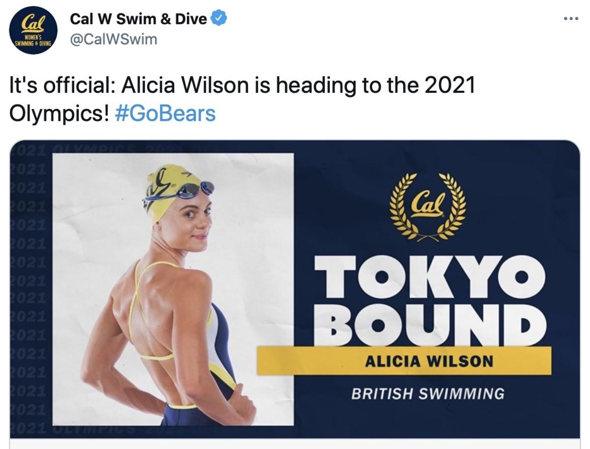 Cal swimmer Alicia Wilson